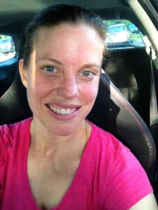 This is me in my car after a run. The photo doesn't do it justice - I am approximately the same color as my shirt.