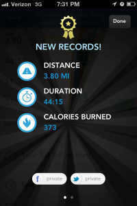 RunKeeper screenshot record run